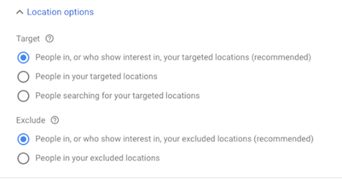 Google Ads Location Settings